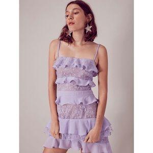 For Love & Lemons Lilac Cosmic Minidress XS